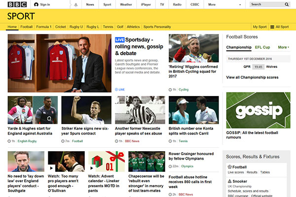 BBC UK Sports News